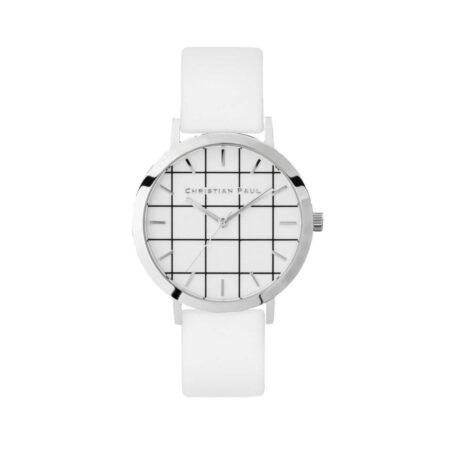 """שעון לנשים """"גריד היימן"""" בצבע כסף עם רקע לבן משבצות ורצועה מעור בצבע לבן"""