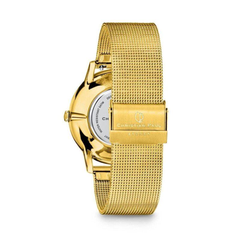 """שעון לנשים """"סייביל"""" בצבע זהב עם רקע שחור ורצועת רשת זהב - תמונת אחורית"""