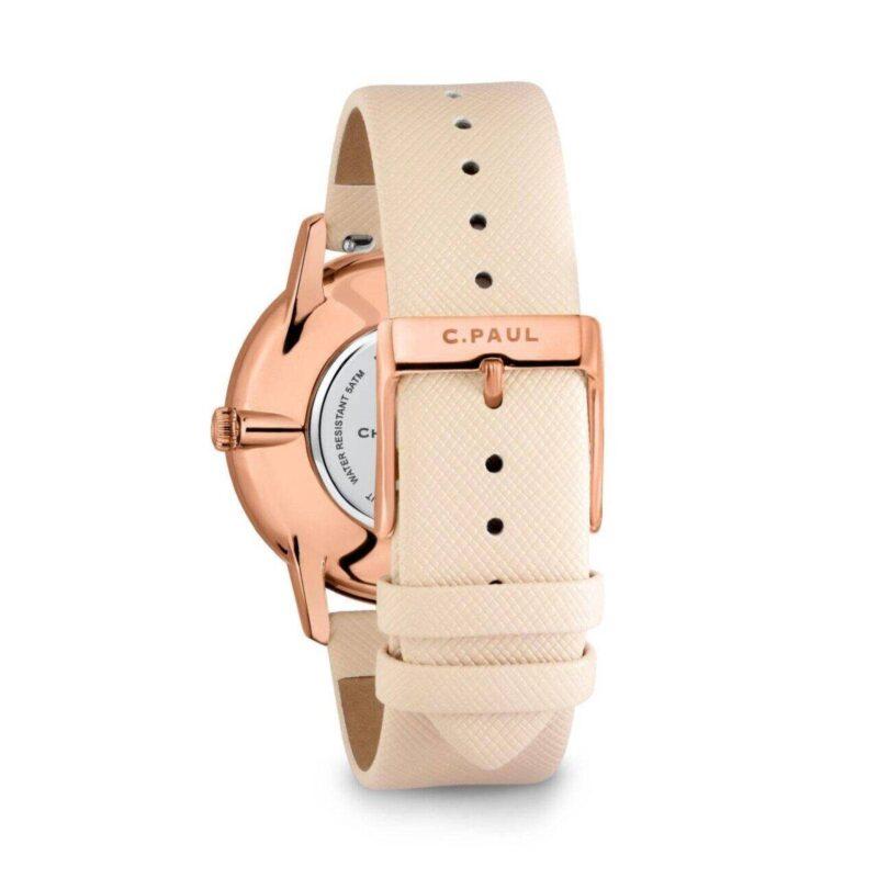 """שעון לנשים """"קנדיס"""" עם רקע אננס טרופי - תמונה אחורית"""