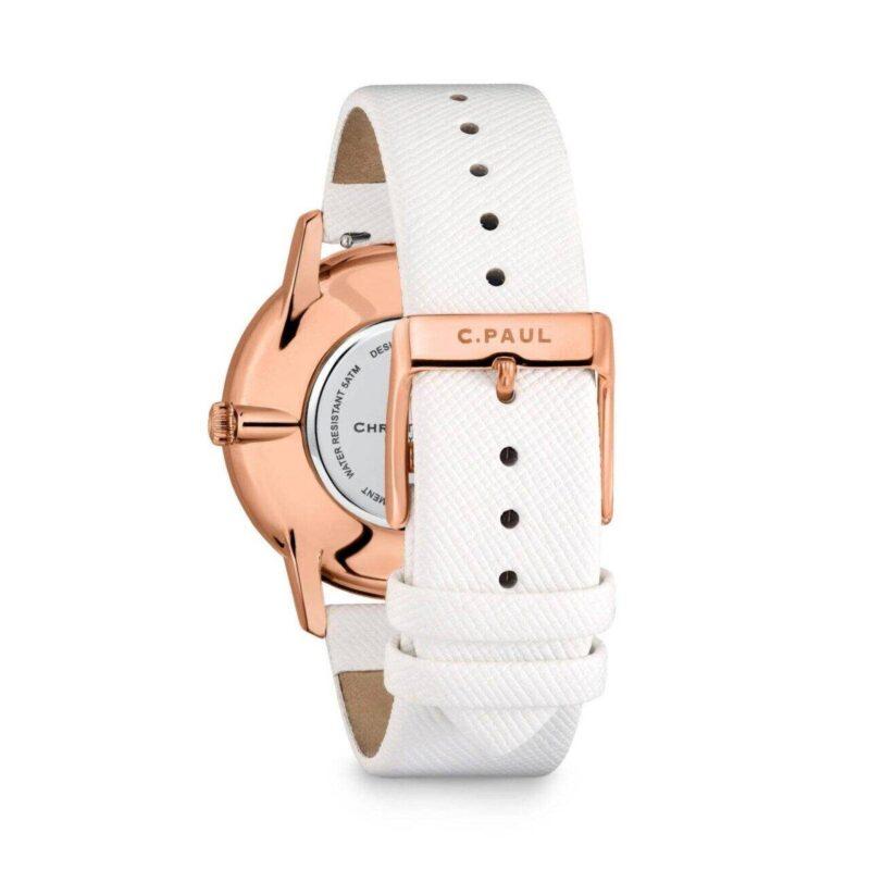 """שעון לנשים """"אופל"""" עם רקע אננס - תמונה אחורית"""