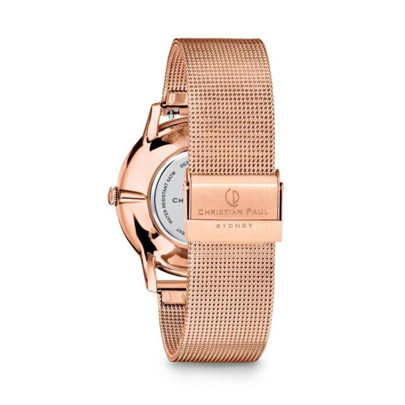 """שעון לנשים """"סייביל"""" בצבע רוז גולד עם רקע שחור ורצועת רשת רוז גולד - תמונה אחורית"""