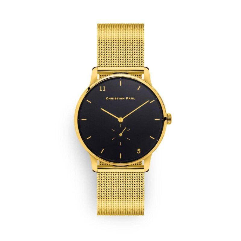 """שעון לנשים """"סייביל"""" בצבע זהב עם רקע שחור ורצועת רשת זהב"""