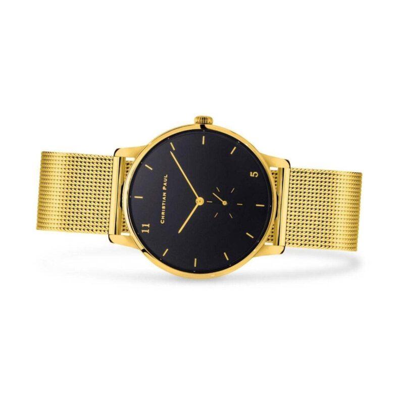 """שעון לנשים """"סייביל"""" בצבע זהב עם רקע שחור ורצועת רשת זהב - תמונת צד"""
