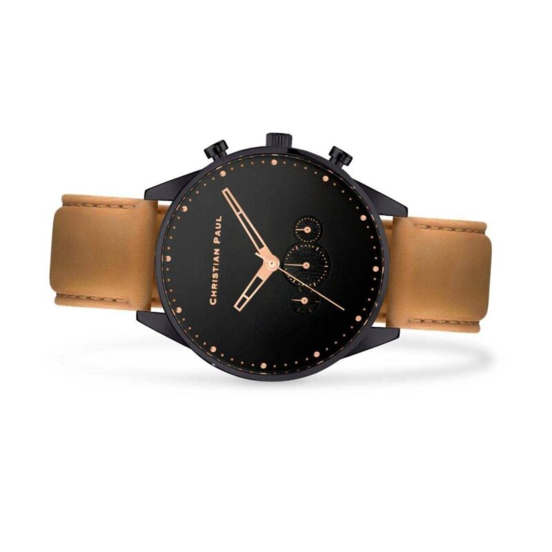 """שעון לגבר """"טומי"""" בצבע שחור עם רקע שחור ורצועה בחום בהיר - תמונת צד"""