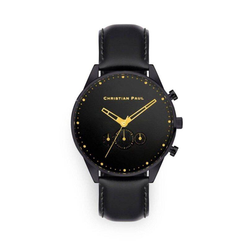 """שעון לגבר """"קרוסבי"""" בצבע שחור עם רקע שחור ורצועה בשחור"""