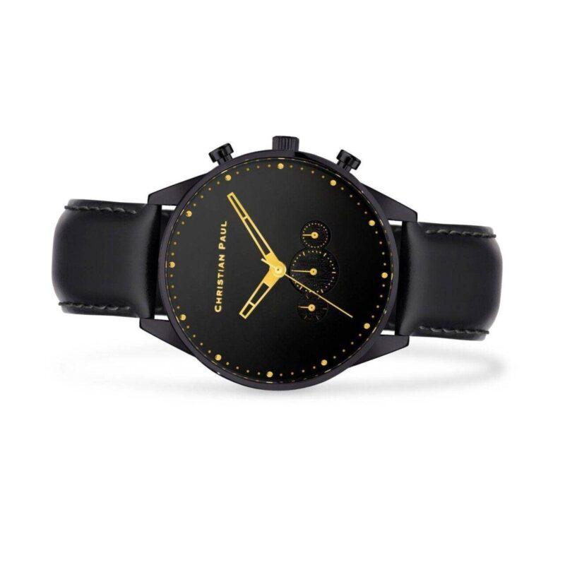 """שעון לגבר """"קרוסבי"""" בצבע שחור עם רקע שחור ורצועה בשחור - תמונת צד"""