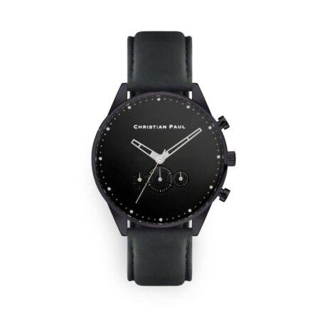 """שעון לגבר """"ריג'יי"""" בצבע שחור עם רקע שחור ורצועה באפור כהה"""