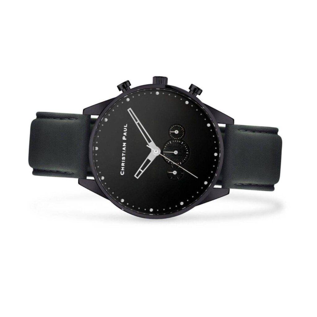 """שעון לגבר """"ריג'יי"""" בצבע שחור עם רקע שחור ורצועה באפור כהה - תמונת צד"""