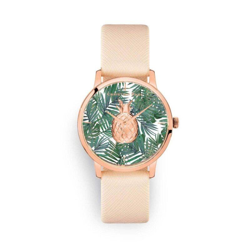 שעון לנשים קנדיס עם רקע אננס טרופי