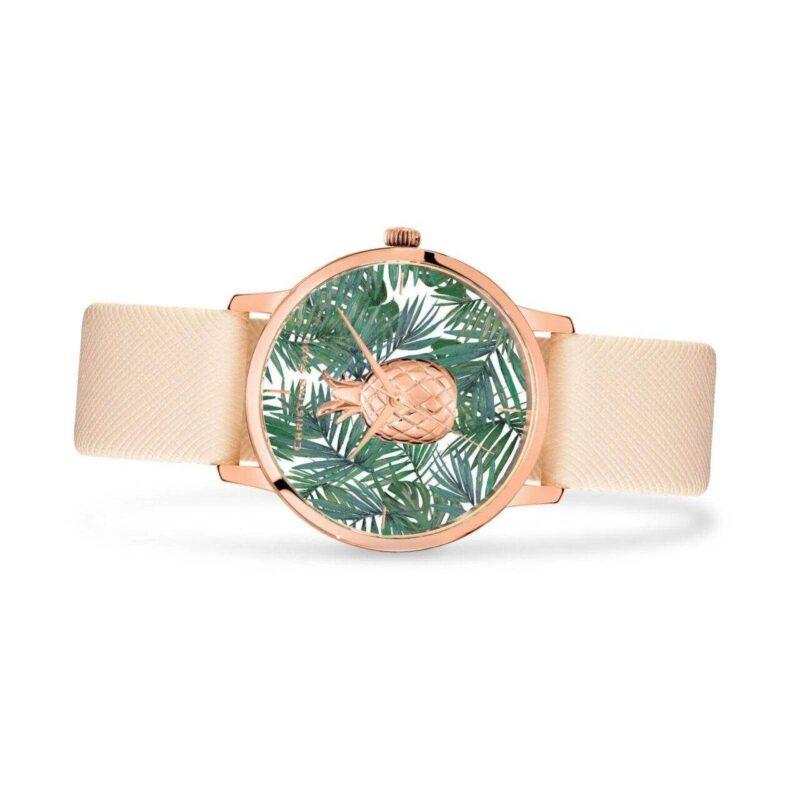 """שעון לנשים """"קנדיס"""" עם רקע אננס טרופי - תמונת צד"""