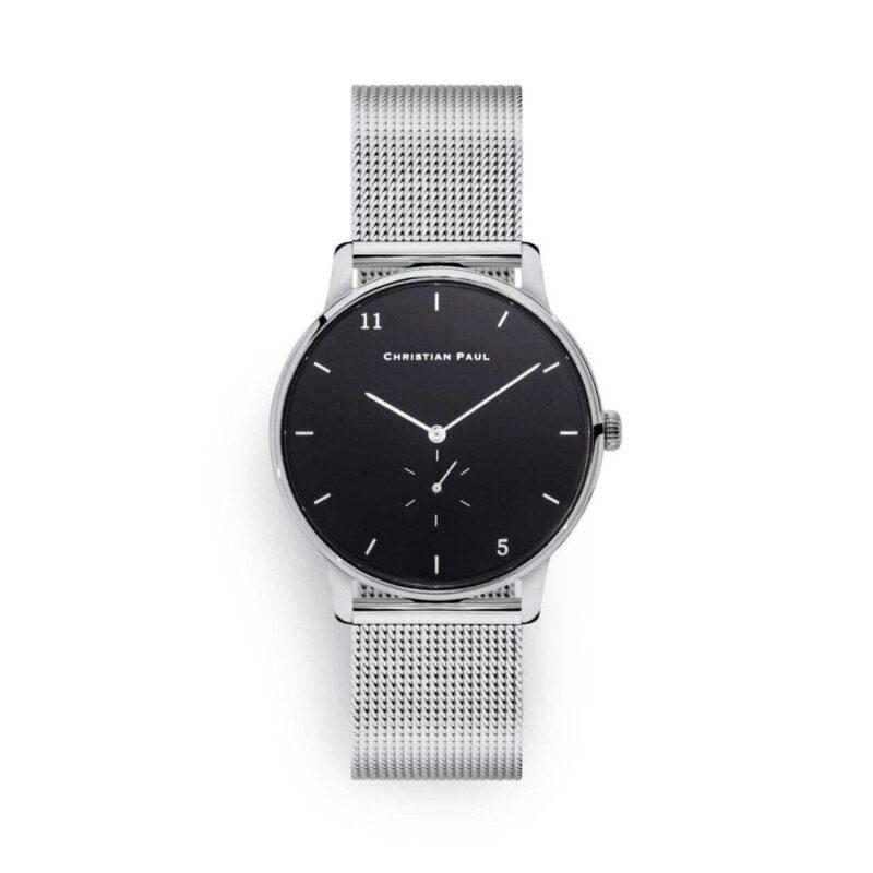 """שעון לנשים """"סייביל"""" בצבע כסף עם רקע שחור ורצועת רשת כסף"""