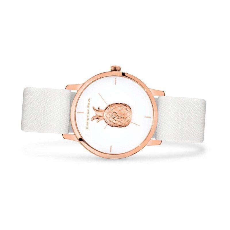 """שעון לנשים """"אופל"""" עם רקע אננס - תמונת צד"""