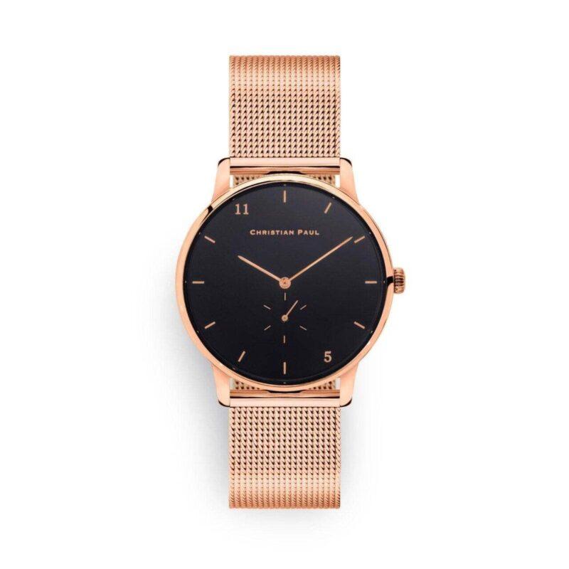 """שעון לנשים """"סייביל"""" בצבע רוז גולד עם רקע שחור ורצועת רשת רוז גולד"""