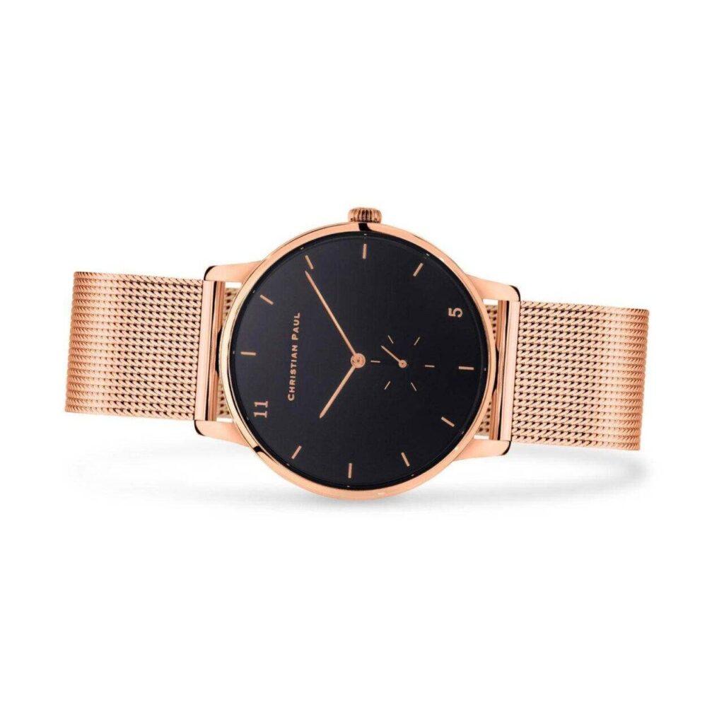 """שעון לנשים """"סייביל"""" בצבע רוז גולד עם רקע שחור ורצועת רשת רוז גולד - תמונת צד"""